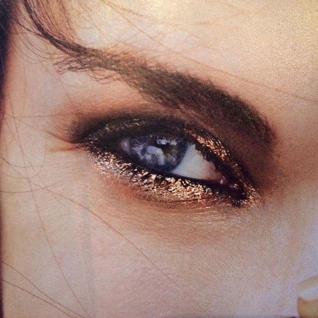 Olho esfumado marrom e dourado