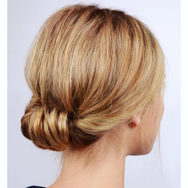 Low bun twisted to the inside