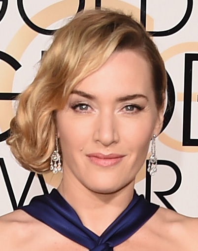 Cabelo de lado Kate Winslet Golden Globes 2016