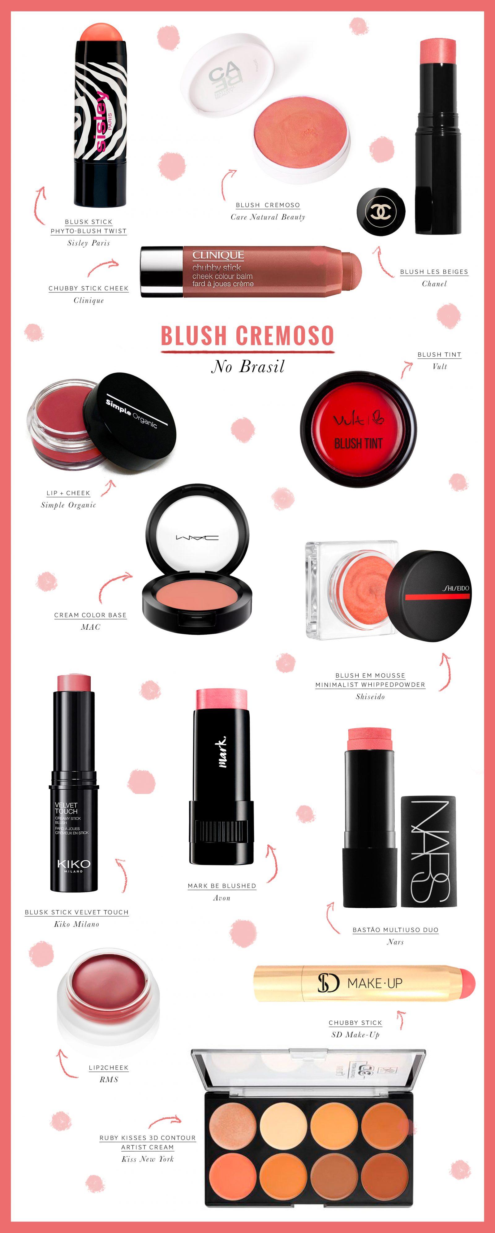 opções de blush cremoso que vende no Brasil