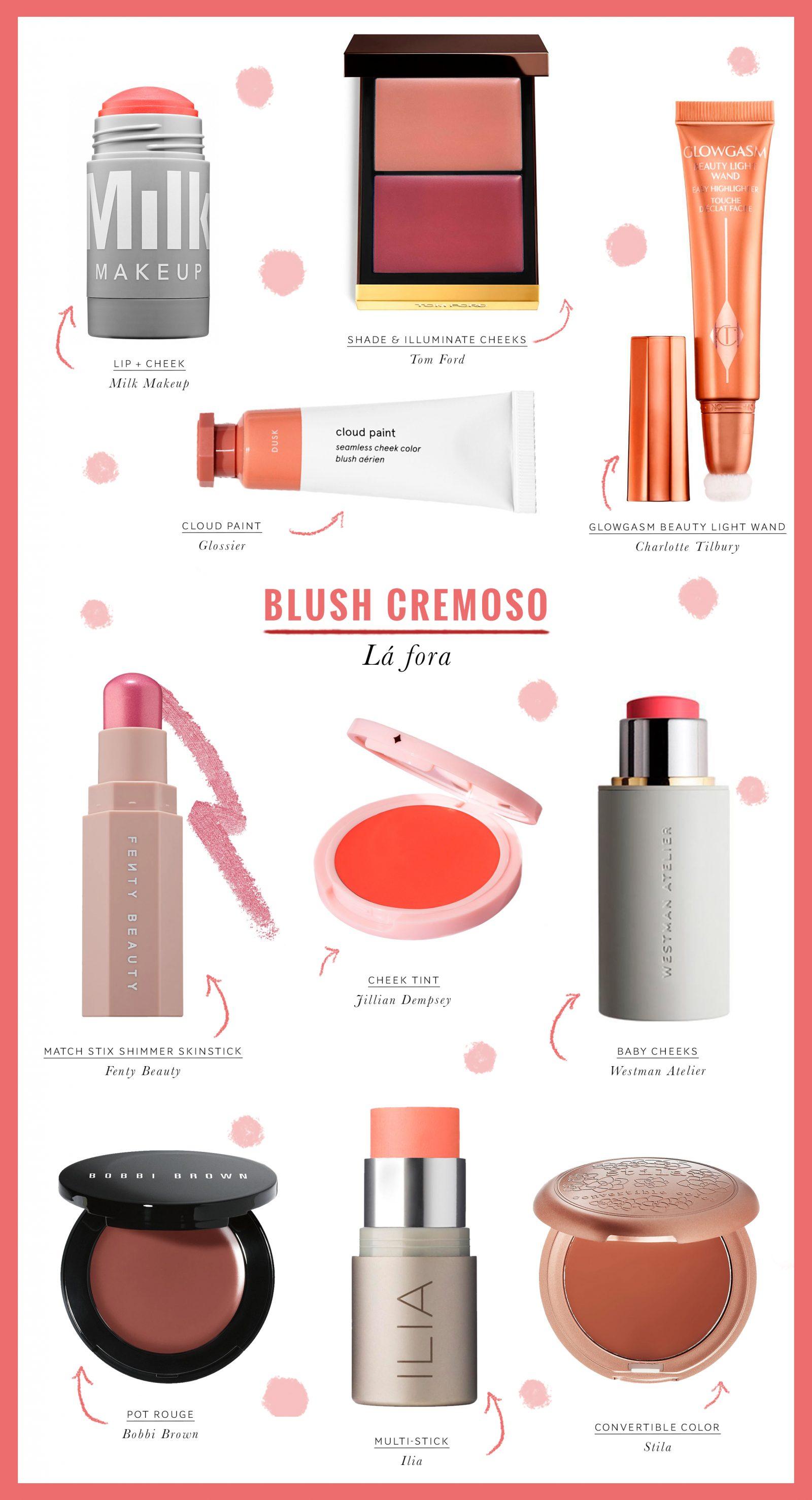 opções de blush cremoso que vende fora do Brasil